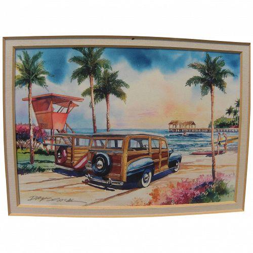 California illustrator art original watercolor painting surfers and classic 1940's Woodies at beach