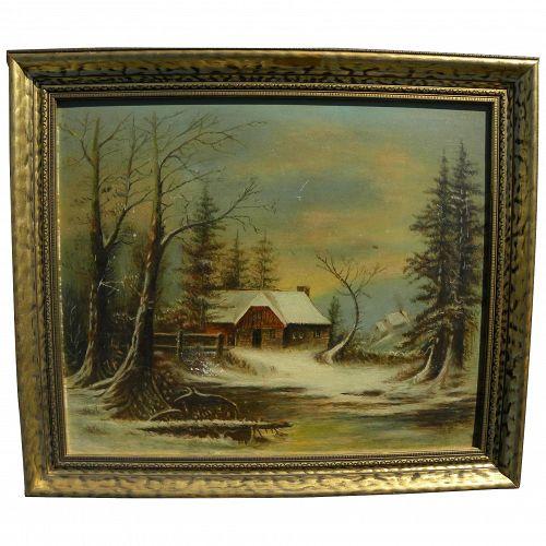 American 19th century primitive winter landscape painting