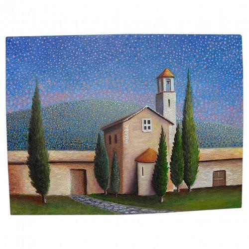 Naive style contemporary painting of a church in Cortona---Tuscany, Italy