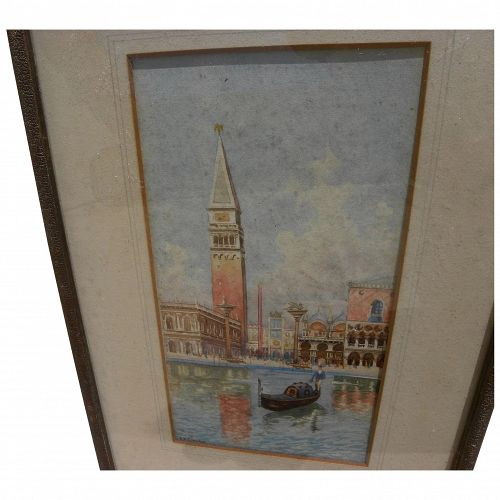 antique Venice watercolor painting signed