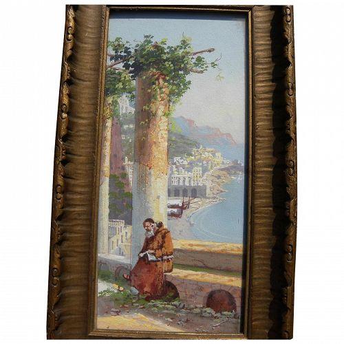 antique Italian gouache painting of Amalfi coast likely GIANNI artists