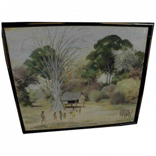 Gouache 1958 painting of a tropical Asian village signed J.P. Geoffroy-Dechaume
