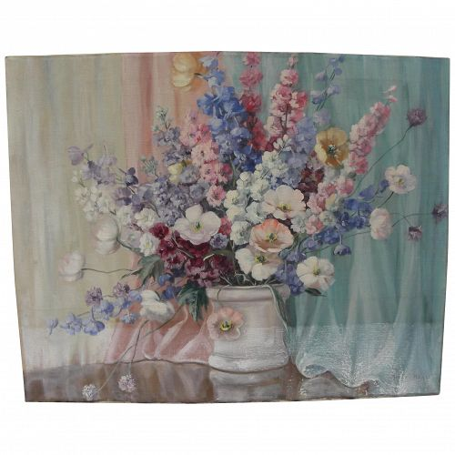 Circa 1940's American impressionist still life painting signed Helen Hayes