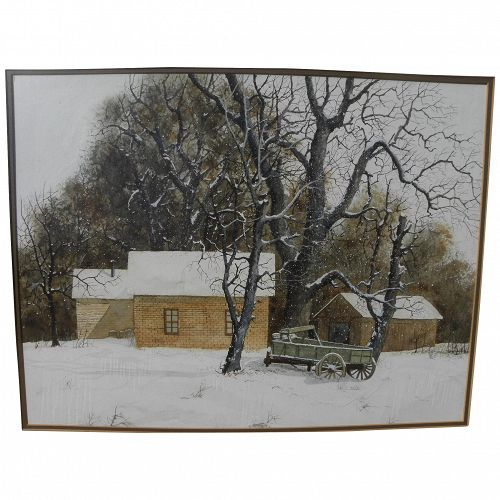 Watercolor painting in realistic style outbuildings in the snow in Colorado circa 1970's