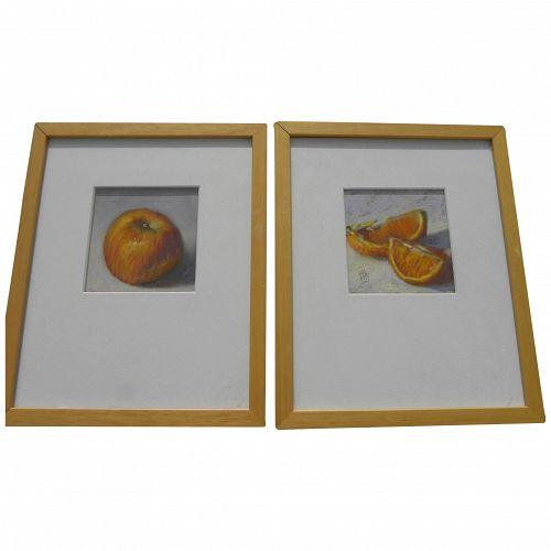 JOHN KELLEY **pair** of pastel drawings of fruit by contemporary Alabama artist