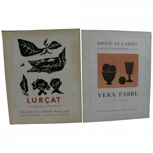 PAIR French mid century lithograph gallery posters JEAN LURCAT (1892-1966) and VERA FABRE (1912-)