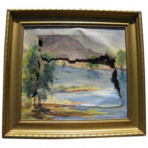Vintage Southwest landscape painting circa 1950's restoration project