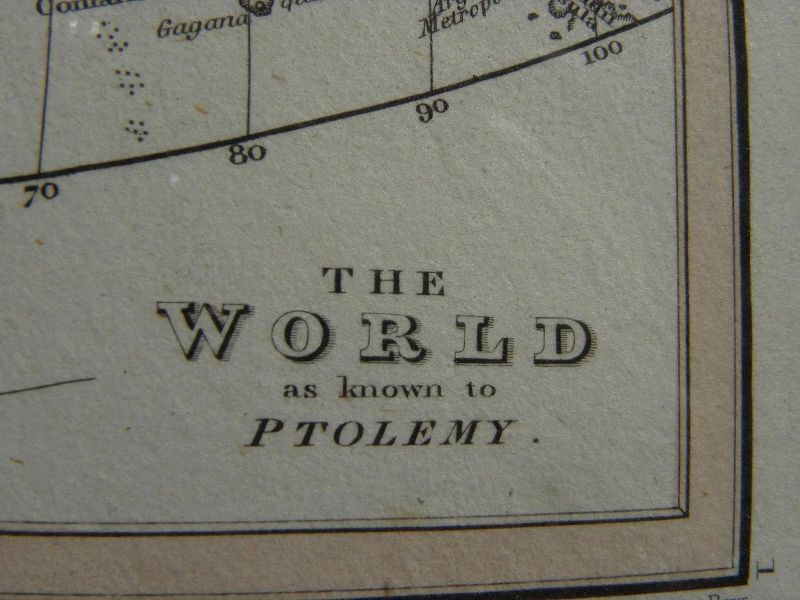"""Map """"World as known to Ptolemy"""" from 1835 book"""