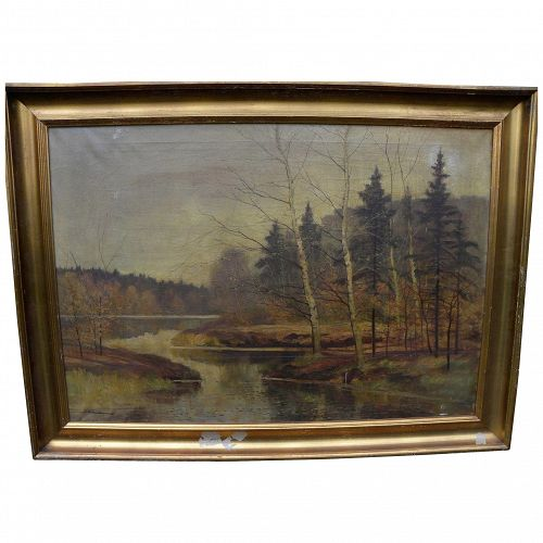 Vintage large signed autumn landscape painting with birch trees likely eastern Europe