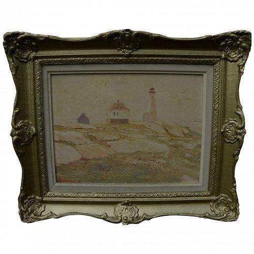 LEONARD C. LANE (1910-1978) vintage impressionist painting of Peggy's Cove, Nova Scotia lighthouse
