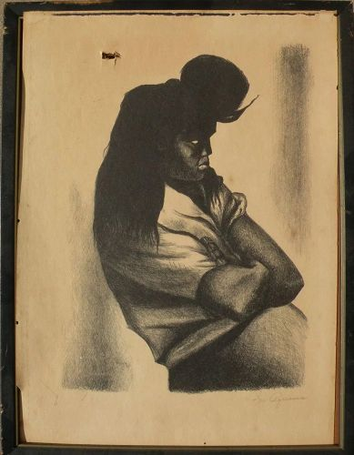 IGNACIO AGUIRRE (1900-1990) Mexican art pencil signed Associated American Artists lithograph print by noted artist