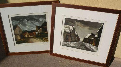 After MAURICE de VLAMINCK (1876-1958) PAIR pencil signed lithograph prints