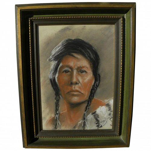 LEONARD BORMAN (1894-1995) pastel drawing of Native American woman by listed California artist
