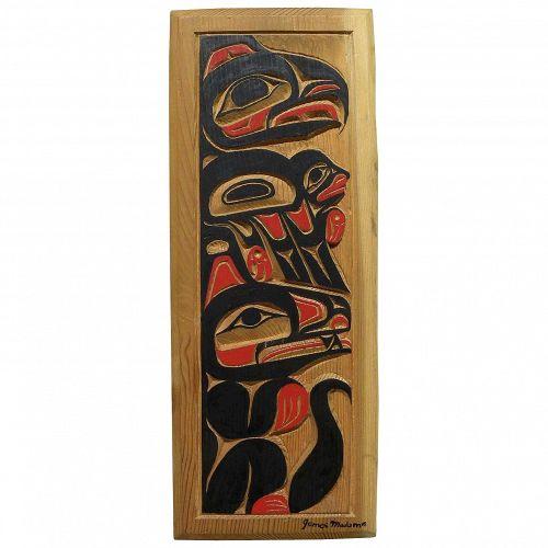 NORTHWEST COAST ART original hand carved panel by noted contemporary carver JAMES MADAM