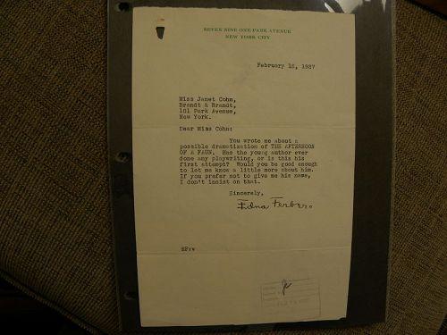 EDNA FERBER (1885-1968) autographed letter famous American author