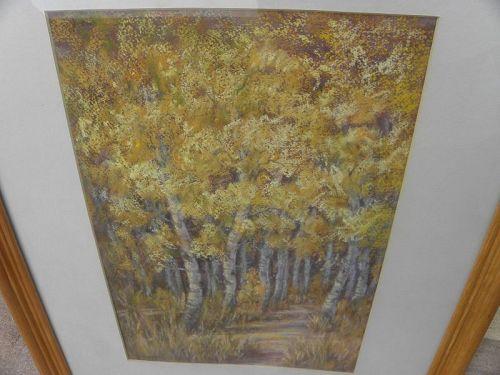 LUVERNE LIGHTFOOT (ca. 1943-) pastel autumn drawing Nevada artist