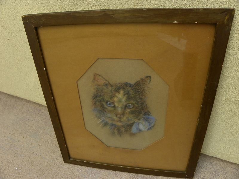 Antique pastel drawing of adorable tabby cat