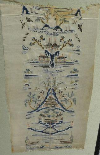 Chinese antique micro stitch textile fragment decorative