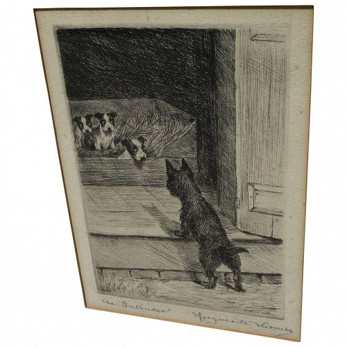 MARGUERITE KIRMSE (1885-1954) pencil signed etching of terrier mischief by noted dog artist