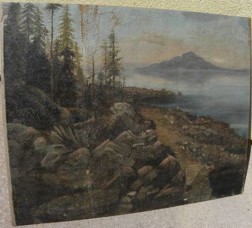 Western American circa 1880 oil landscape mountain lake