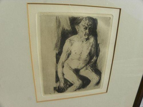 KATHE KOLLWITZ (1867-1945) etching nude man German art