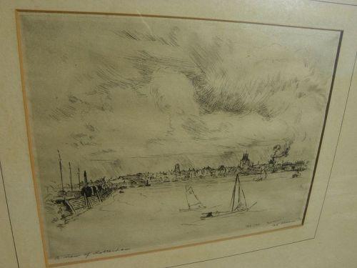 CHARLES K. GLEESON (1878-1971) etching Rotterdam Holland 1910