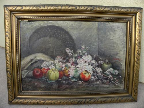 Antique impressionist still life painting German signed