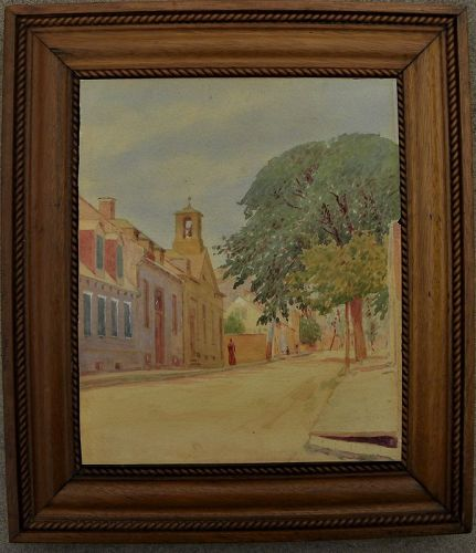 Southern watercolor painting American street scene