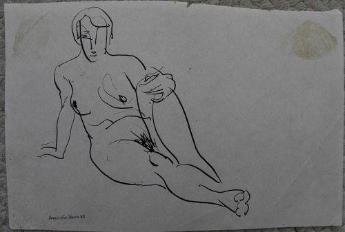 FRANK VAN SLOUN (1879-1938) ink drawing nude San Francisco artist