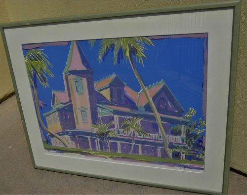 Key West Florida colorful signed print artist Robert E Kennedy limited