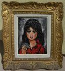 Big Eye School painting Retro 1960's oil nice frame