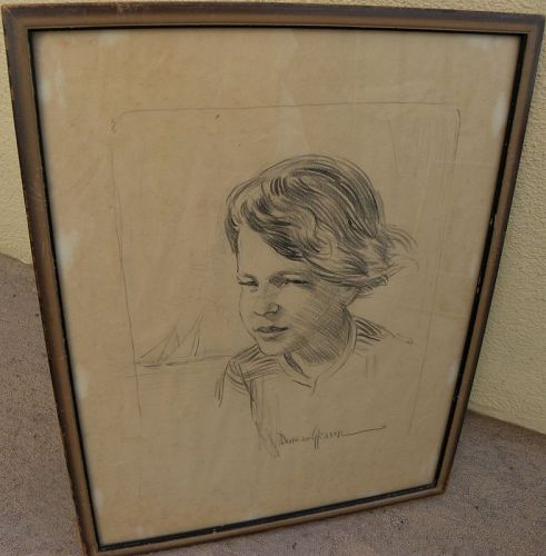 DUNCAN GLEASON (1881-1959) California art drawing young girl