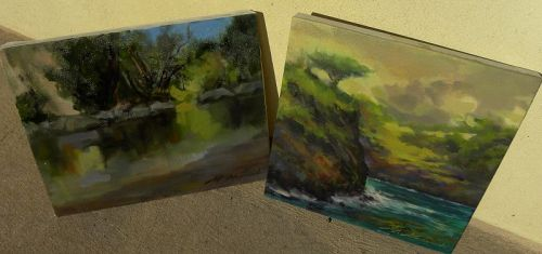 Impressionist contemporary paintings signed PAIR California