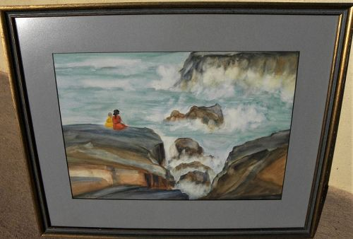 Vintage watercolor figures on seaside cliff 1945 signed