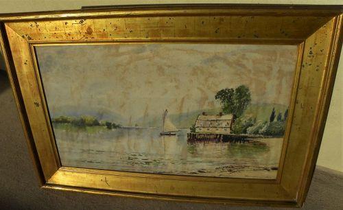 EDMUND DARCH LEWIS (1835-1910) American antique watercolor gold frame