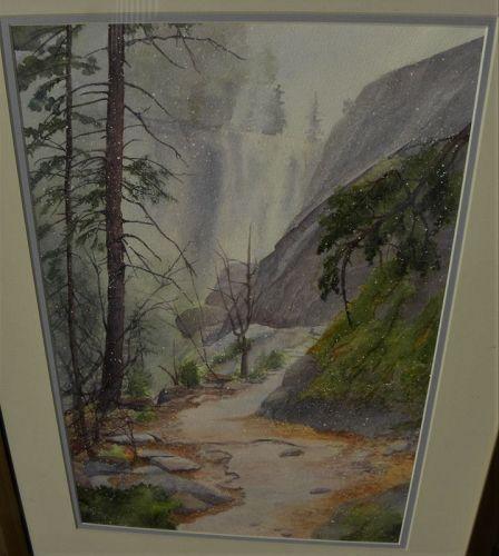 California watercolor painting Yosemite by local artist