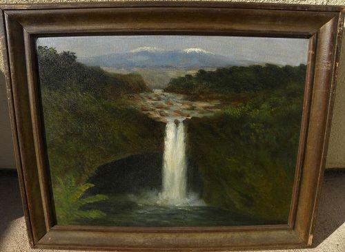 Antique Hawaiian painting Big Island waterfalls signed SMITH 1920