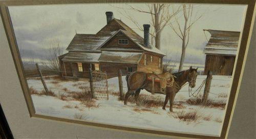 JEFFREY CRAVEN (1950-) western American painting gouache landscape