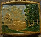 Vintage California Arts Crafts ceramic tile studio pottery plaque