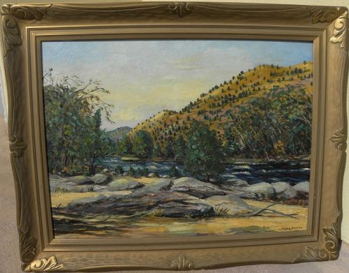 Vintage Western American painting river canyon signed Crowder