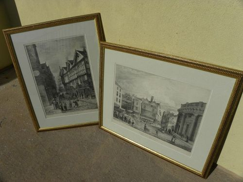 Antique 1823 prints PAIR Manchester England nicely framed