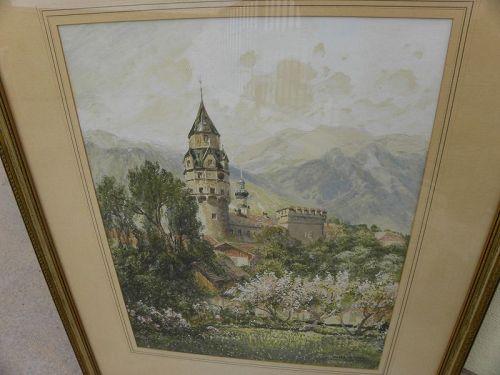 FRIEDRICH FRANK (1871-1945) Austrian art watercolor painting Tirol
