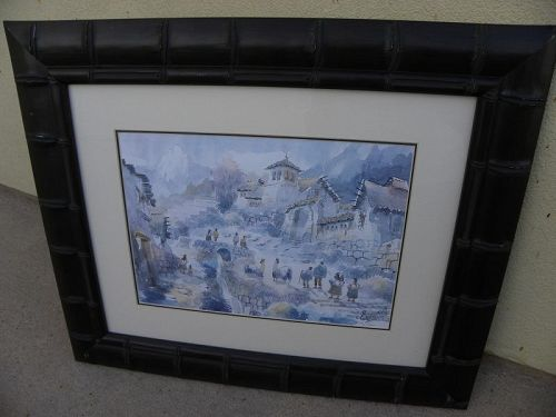 Peruvian Andes Cuzco fantasy watercolor painting signed