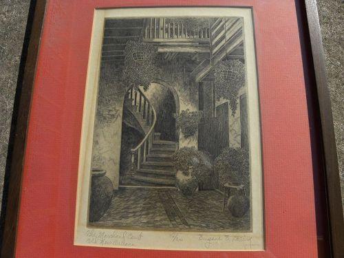 EUGENE F. LOVING (1908-1971) New Orleans signed etching