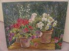 Spanish art impressionist 1927 painting floral still life signed