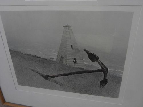 """ANDREW WYETH (1917-2009) pencil signed collotype print """"Sea Running"""""""