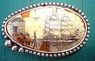 Sterling Scimshaw Clipper Ship Belt Buckle Signed SOLD