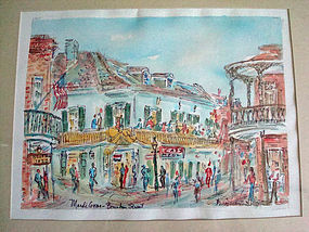 Original Signed Water Color New Orleans Mardi Gras SOLD