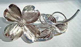 Fine Sterling Silver Brooch Dogwood Flower Hallmarked