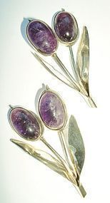 Sterling Silver Amethyst Earrings Floral Design Mexico